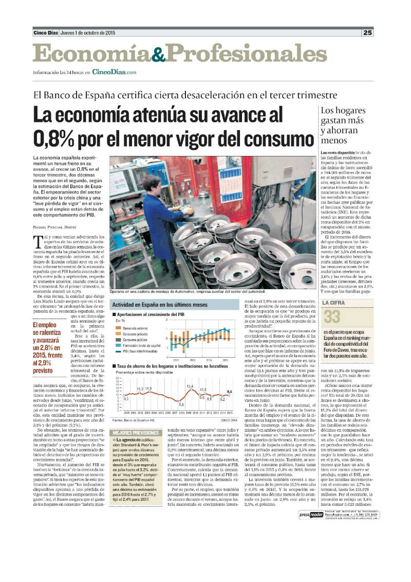 La economía atenúa su avance
